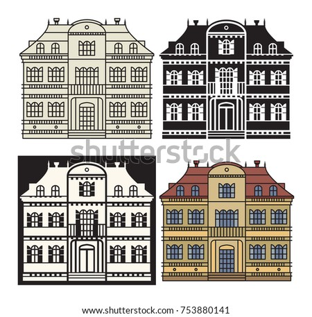 Flat residential house and detailed house exterior. House icon. House vector illustration.