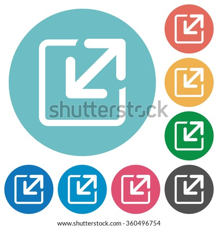 Flat resize icon set on round color background.