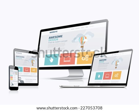 Shutterstock Flat responsive web design concept website development devices