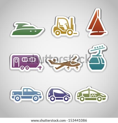Flat retro color stickers - set nine. Vector illustration 10eps
