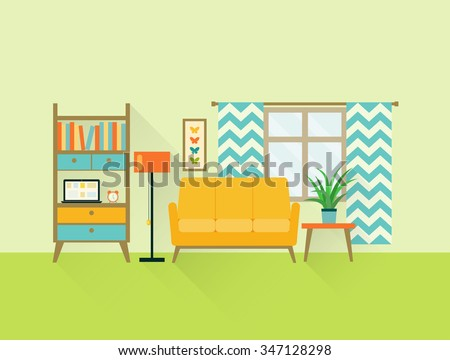 flat retro living room with