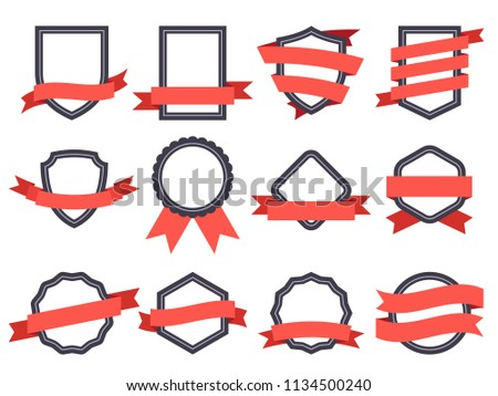 Flat ribbon banner badge. Genuine banners, badging frames with ribbons and circle insignia badges for logo design round genuine seal or sport competition winner medal flat vector isolated symbol set