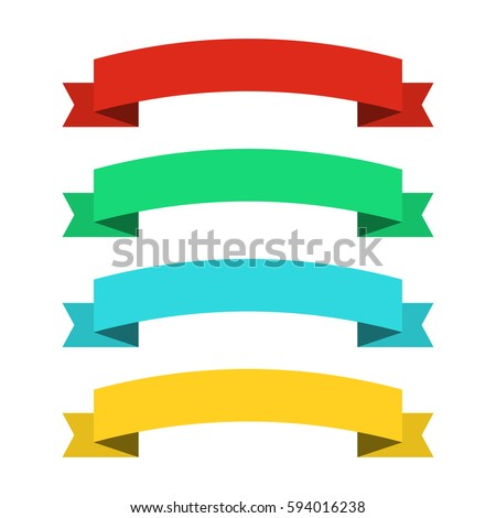 Flat ribbons banners. Ribbons in flat design. Vector set of colorful ribbons