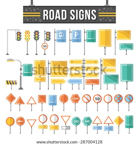 Flat road signs set. Traffic signs graphic elements isolated on white background. Great for infographic, city construction, web. mobile apps. Flat design concepts. Creative vector illustration
