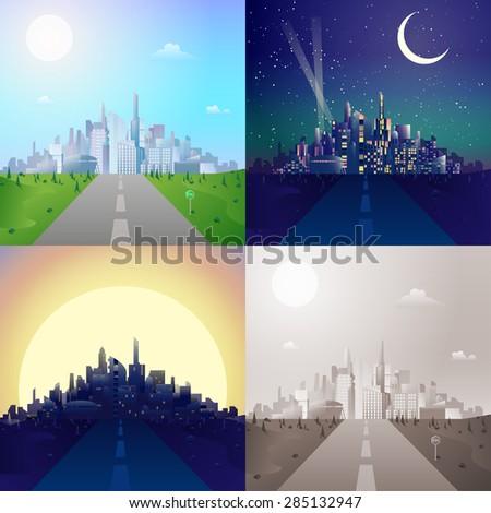 flat road to modern urban city