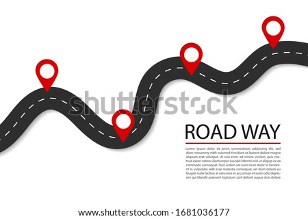 Flat road with pins.Highway for route of journey on isolated background. Asphalt street for infographic. Design traffic trip template. Winding street with points banner. Design vector illustration Сток-фото ©