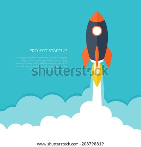 flat rocket icon startup