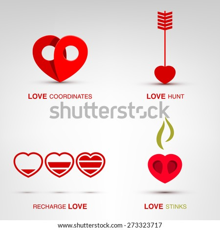 flat romantic love icons