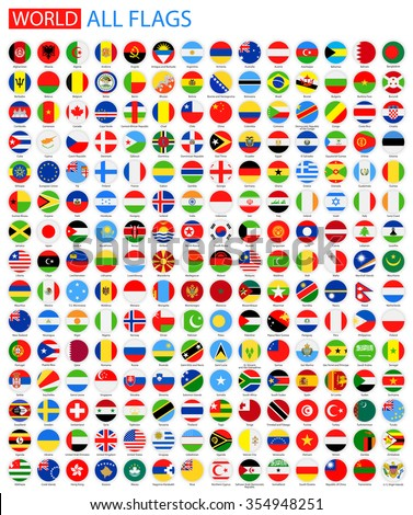 Flat Round All World Vector Flags Vector Collection of Flag Icons   #354948251