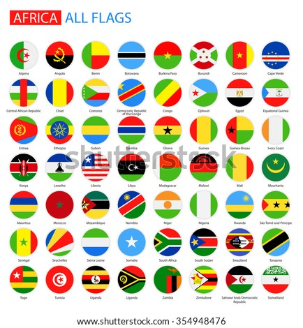 Flat Round Flags of Africa - Full Vector Collection Vector Set of African Flag Buttons  #354948476