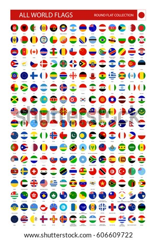 Flat Round Icons of All World Flags. Ultimate Vector Collection. #606609722