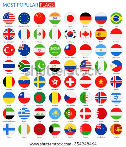 Flat Round Most Popular Flags - Vector Collection Vector Set of National Flag Icons  #354948464