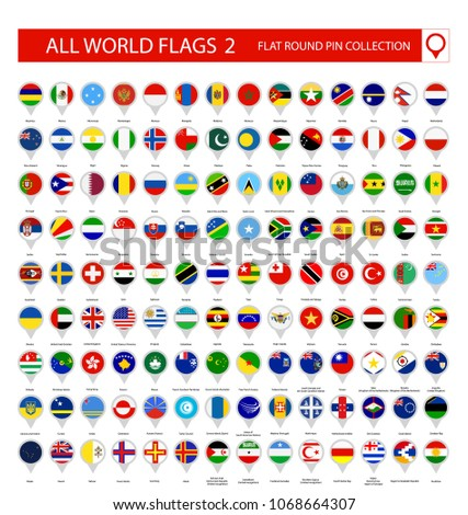 Flat Round Pin Icons of All World Flags. Part 2. All World Flags Vector Collection. #1068664307