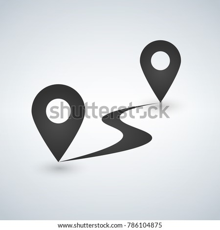 Flat route icon. gps distance. vector illustration