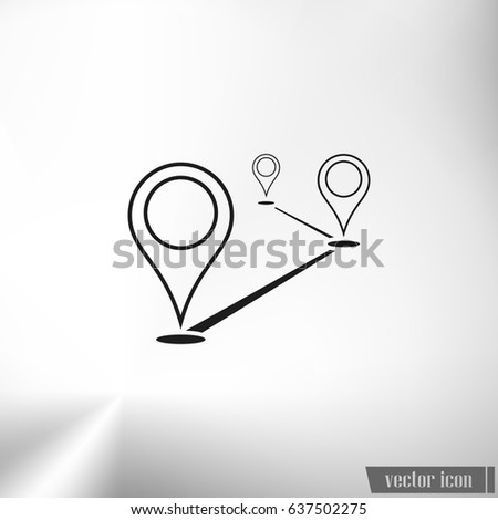 Flat route location vector icon. Concept of path or road. Journey illustration.