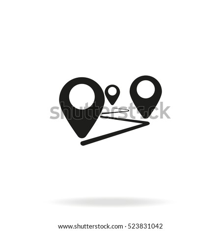 Flat route location vector icon isolated on white background. Concept of path or road. Journey simple illustration.