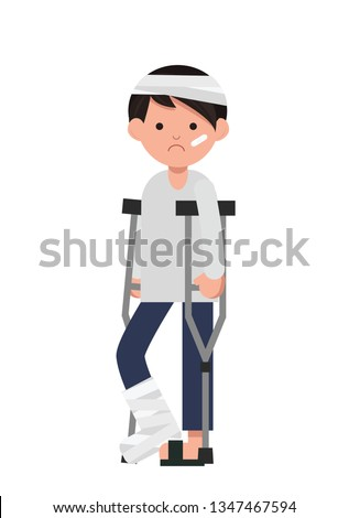 Flat sad character with Broken Leg. Disable man with a broken leg.Vector Illustration
