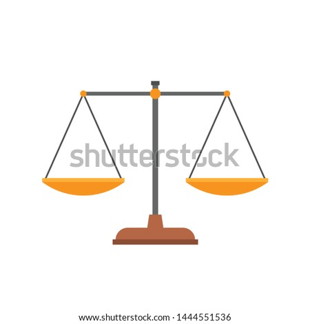 Flat scales icon. Equal scalepans with equal weight in balance and harmony. Symbol of judgment, comparison, fairness. Flat design vector illustration.