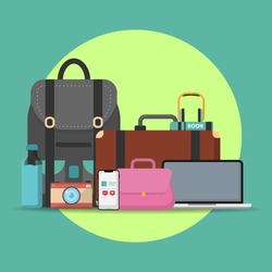 flat scene of personal stuffs or Belongings for reminder before leaving concept. Illustration and Vector Eps 10.
