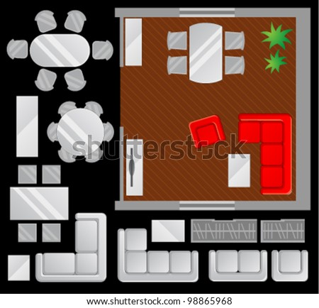Flat scheme with furniture, view from above, dining room