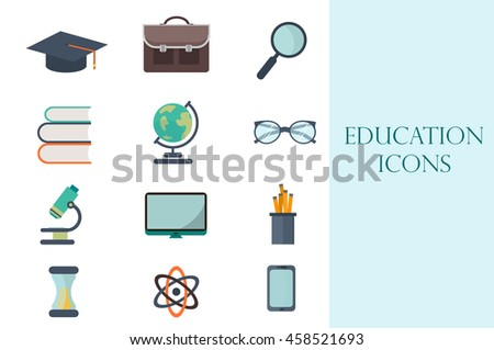 Flat school and education icons set vector illustration. School education icons and university education icons. Graduation education icons and diploma learning sign student education icons.