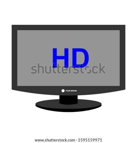 Flat screen TV with HD video label vector icons, television screens with high-tech digital symbols