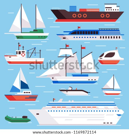Flat sea ships. Marine shipping sailing boat, ocean cruise liner and icebreaker ship, sailboat yacht steamer and fishing boats on water harbor vector isolated sign set