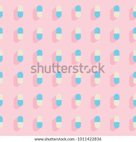 Flat seamless pattern with pills medical. Vector illustration