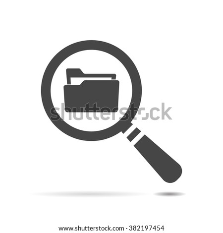 Flat Search concept with folder icon - Computing - Data and information