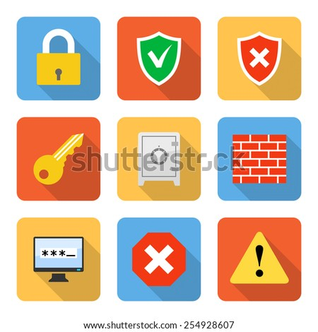 flat security icons with long