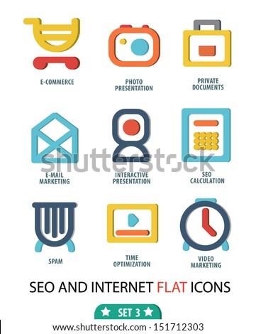 Flat set 3 Icons for Web and Mobile Applications