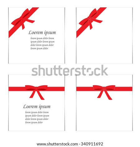 Flat set of cards with red gift bows, ribbons and text. Vector illustration