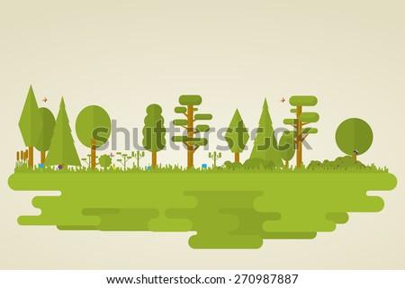 flat set of forest vegetation