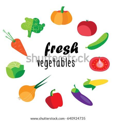 flat  set of fresh fruits. on a white background #640924735