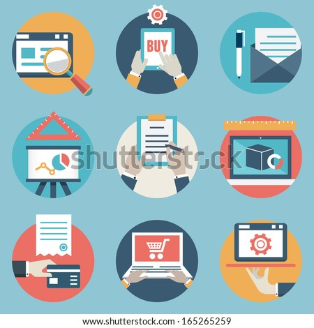 Flat set of modern vector icons and symbols on business management or analytics and e-commerce theme - vector icons