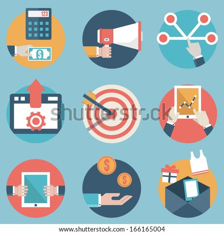 Flat set of modern vector icons and symbols on business management or analytics and e-commerce theme - part 2 - vector icons