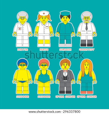 Flat set of people in different professions in constructor style. Convenient guide for children showing different professions.