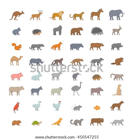 Flat set of silhouettes of australian, african, american and other animals. Vector icon monkey, beaver, pig, kiwi, lemur, cow, chicken and others. Open path.