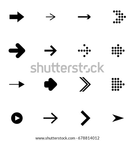 Flat set of the black arrows on white background. Simple vector illustration of color elements for web. Set of the symbols icon for navigation.