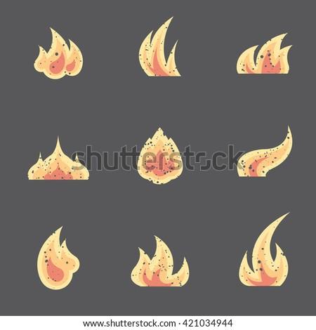 flat set of various fire