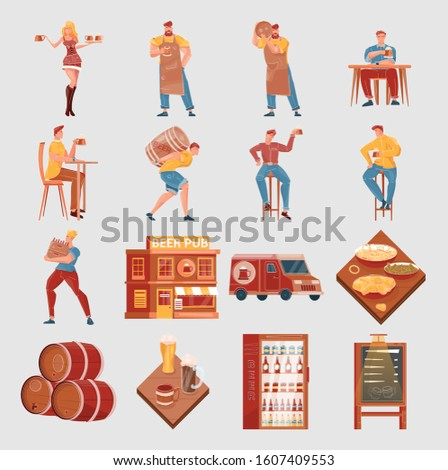 Flat set with beer pub elements and people drinking and delivering beverages isolated vector illustration