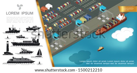 Flat shipping concept with loading of containers on cargo ship at seaport and silhouettes of buoy lighthouse different ships vector illustration