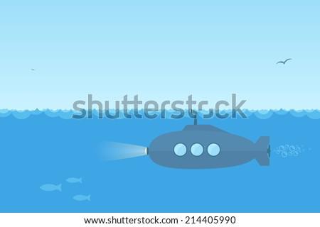 flat  simple blue submarine