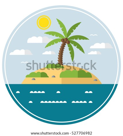 flat simple desert island