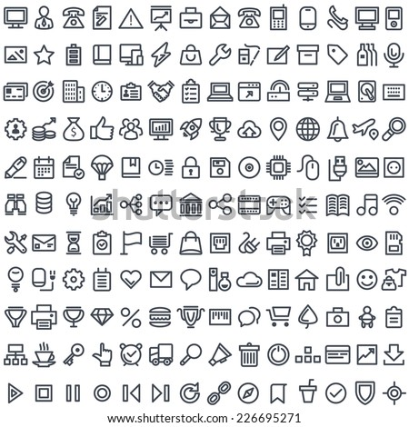 Flat simple icons. 196 modern icons for mobile interface.
