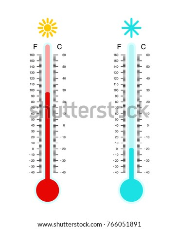 Flat simple image with hot and cold meteorology thermometer isolated on white background. Collection of weather icons. Vector illustration of Celsius and Fahrenheit temperature measuring devices.