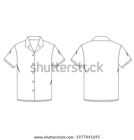 Flat sketch of men's lapel collar shirt. Fashion digital illustration. Men's flat sketch for CAD  technical sketches. Detailing of lapel collar, half sleeve, seamless button placket  hem finish. ストックフォト ©