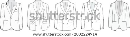 flat sketch set of men's blazer suit jacket vector illustration, flat technical drawing, isolated on white background. ストックフォト ©