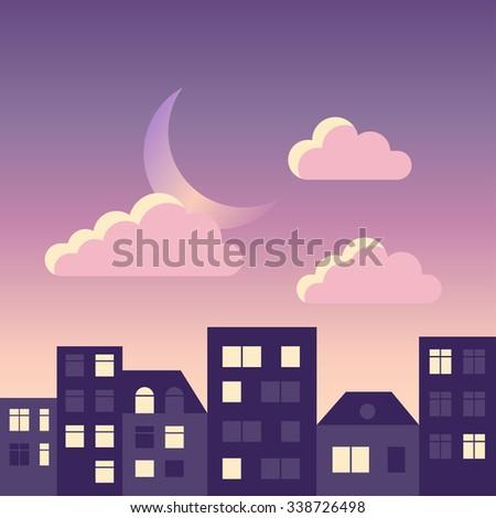 flat sky and city landscape