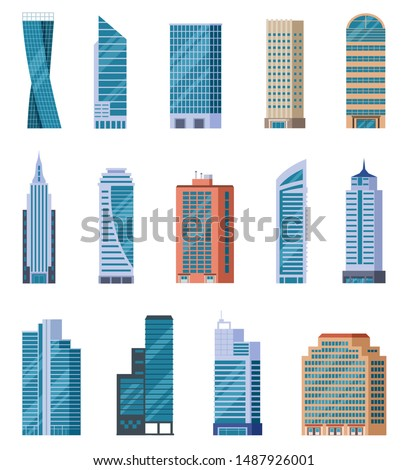 Flat skyscrapers. Exterior of modern city buildings. Residential and business office houses. Downtown facades. Isolated vector set